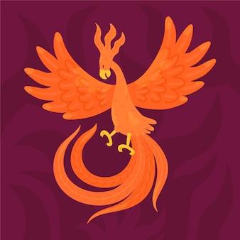Hand gezeichneter stil phoenix vogel