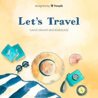 Hand gezeichneter Strandhintergrund