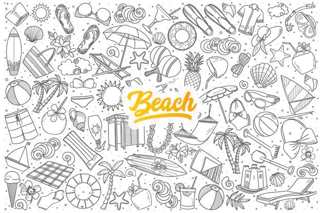Hand gezeichneter strandkritzelsatzhintergrund mit gelber beschriftung