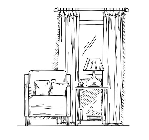 Hand gezeichneter stuhl, schreibtisch, fenster. auf dem tisch steht eine vase mit einer lampe. illustration im skizzenstil.