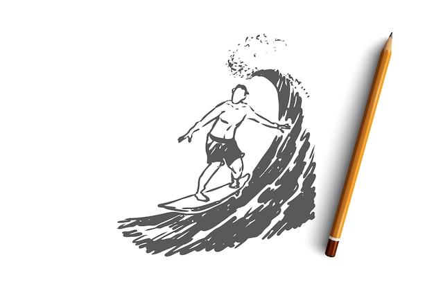 Hand gezeichneter surfer auf einer wellenkonzeptskizze