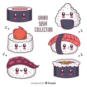 Hand gezeichneter sushi kawaii satz