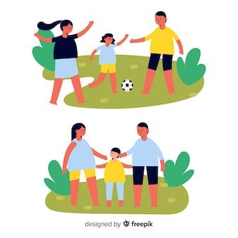 Hand gezeichneter szenenrucksack der familie im freien