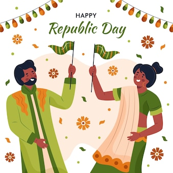 Hand gezeichneter tag der indischen republik