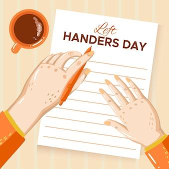 Hand gezeichneter tag der linkshänder mit notizbuch