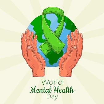 Hand gezeichneter tag der psychischen gesundheit der welt