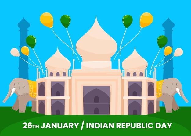 Hand gezeichneter tag der republik indien