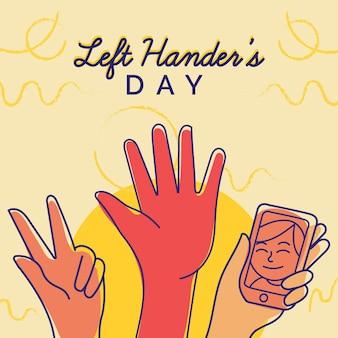 Hand gezeichneter tag für linkshänder
