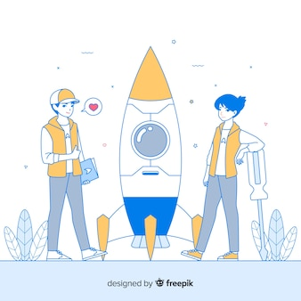 Hand gezeichneter teamgebäude-raketenhintergrund