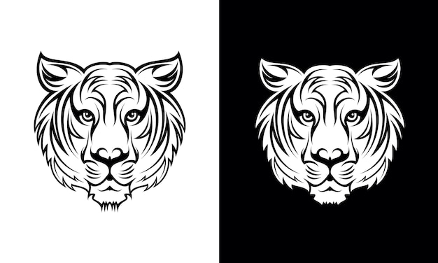 Hand gezeichneter tiger tattoo design