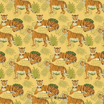 Hand gezeichneter tigermusterhintergrund