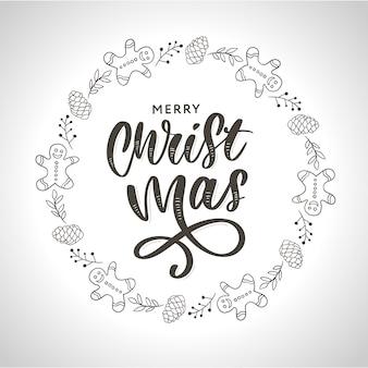 Hand gezeichneter tinte weihnachtskranz mit stoß, tannenzweige, weihnachtsdekorationen.