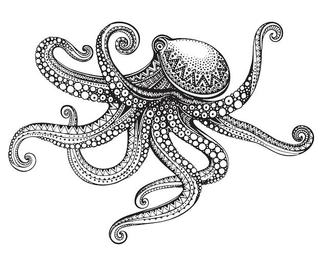 Hand gezeichneter tintenfisch im kunstvollen verzierten stil