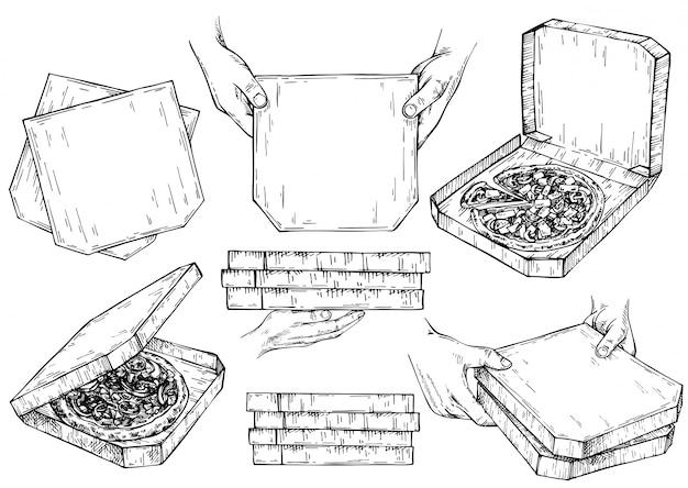 Hand gezeichneter tintensatz von pizzaschachteln. kurier hält pappkartons mit pizza in der hand. skizze öffnen sie die pizzaschachtel. hand gezeichnete pizza im karton. lieferung vintage tinte illustration