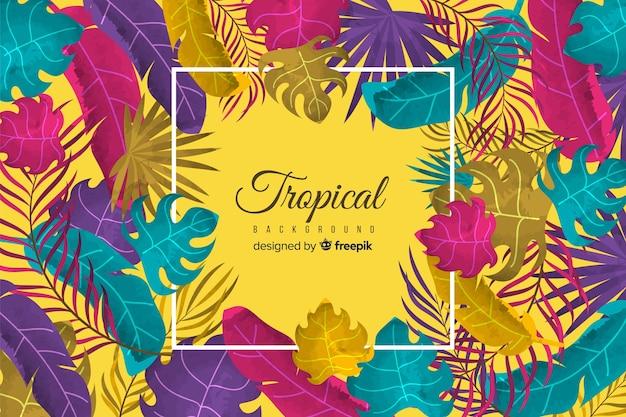 Hand gezeichneter tropischer betriebshintergrund