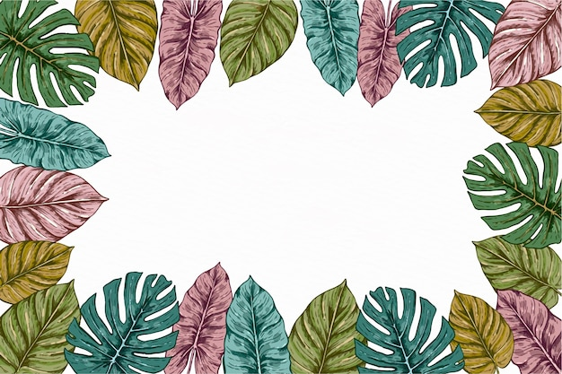 Hand gezeichneter tropischer blätterhintergrund