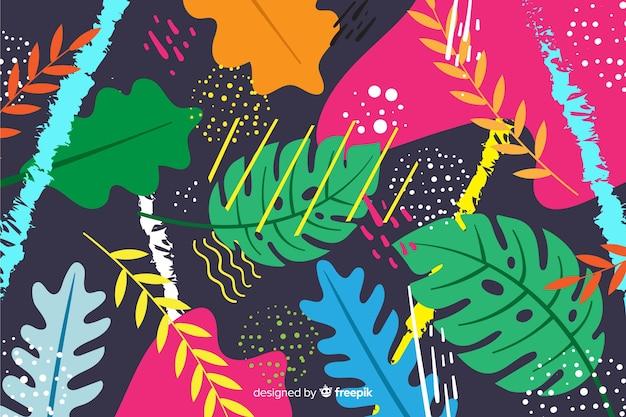 Hand gezeichneter tropischer blatthintergrund
