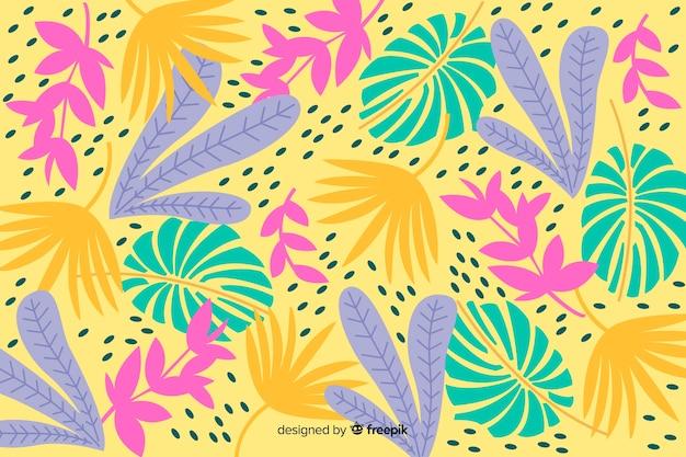 Hand gezeichneter tropischer bunter blatthintergrund