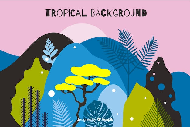 Hand gezeichneter tropischer landschaftshintergrund