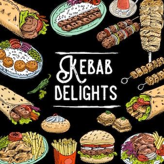 Hand gezeichneter türkischer nahrungsmittelhintergrund