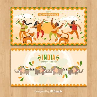 Hand gezeichneter unabhängigkeitstag von indien-fahne