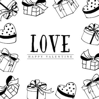 Hand gezeichneter valentine elements background