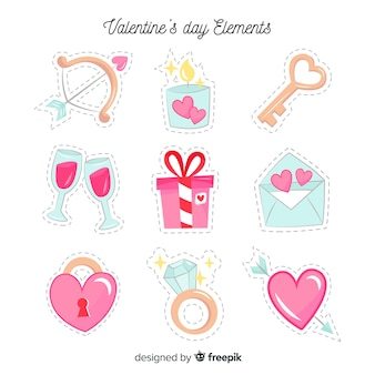 Hand gezeichneter valentinsgrußelementsatz