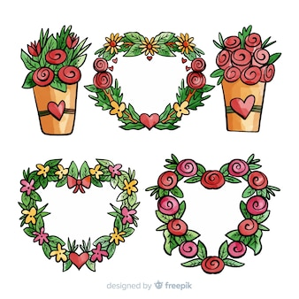 Hand gezeichneter valentinstag-blumensatz