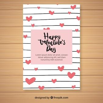 Hand gezeichneter Valentinstagflieger / -plakat