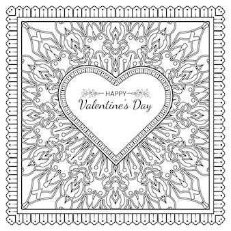 Hand gezeichneter valentinstaggruß mit mehndi-blume. dekoration in ethnisch orientalischer, gekritzelverzierung. umriss hand zeichnen illustration.