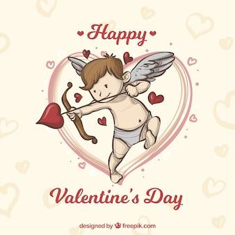 Hand gezeichneter valentinstaghintergrund mit engel