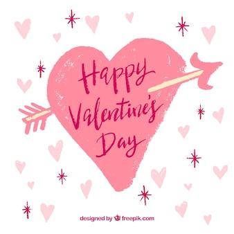 Hand gezeichneter valentinstaghintergrund mit großem rosa herzen