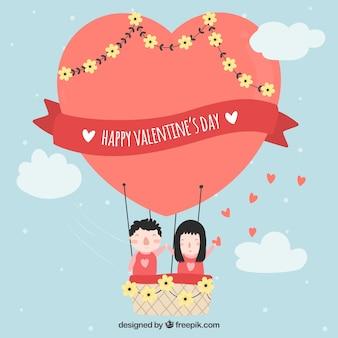 Hand gezeichneter valentinstaghintergrund mit heißluftballon