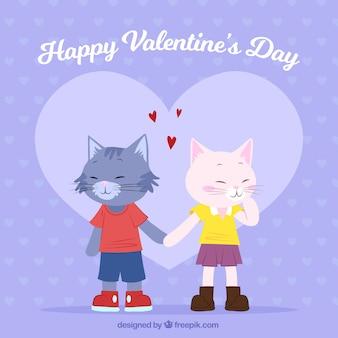 Hand gezeichneter valentinstaghintergrund mit katzen