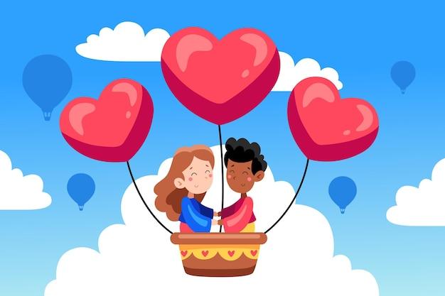 Hand gezeichneter valentinstaghintergrund mit paar im heißluftballon