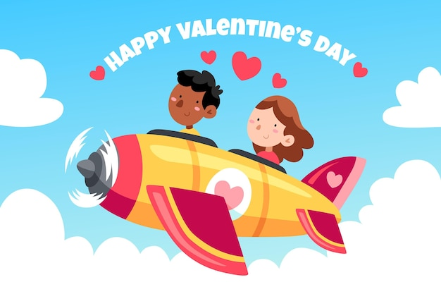 Hand gezeichneter valentinstaghintergrund mit paar in rakete