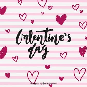 Hand gezeichneter valentinstaghintergrund mit rosa streifen