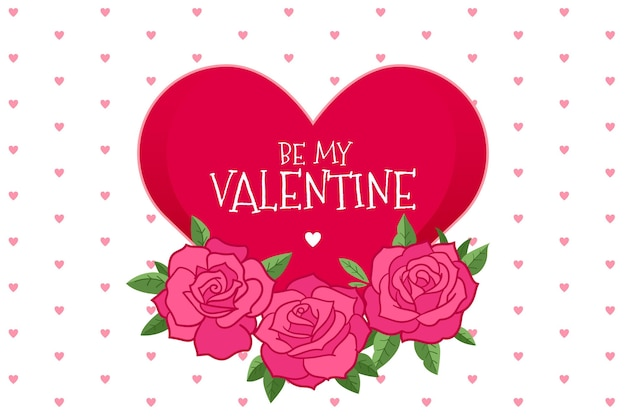 Hand gezeichneter valentinstaghintergrund mit rosen und herz