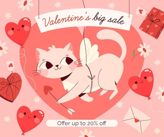 Hand gezeichneter valentinstagverkauf mit rabatt