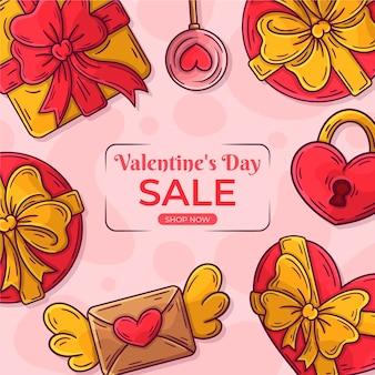 Hand gezeichneter valentinstagverkauf