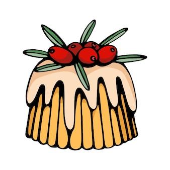 Hand gezeichneter vektor des weihnachtsnachtischs lokalisiert auf weiß skizze des kuchens für feiertagsdekoration