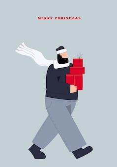 Hand gezeichneter vektor frohe weihnachten und frohes neues jahr postkarte mit mann, der weihnachtsgeschenkboxen vom weihnachtsverkauf trägt