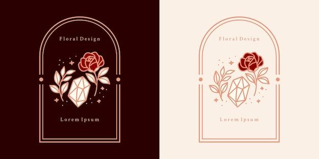 Hand gezeichneter vintage kristall, edelsteine, blatt, rosenblumenlogo und weibliches schönheitsmarkenelement