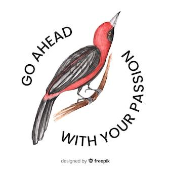 Hand gezeichneter vogel mit worthintergrund