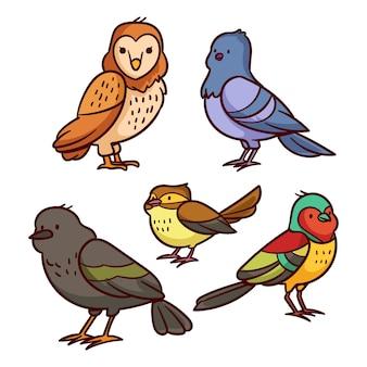 Hand gezeichneter vogelsatz