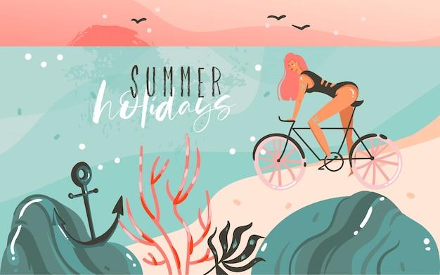 Hand gezeichneter waschbär-sommerzeitillustrationsschablonenhintergrund mit ozeanstrandlandschaft, sonnenuntergang, schönheitsmädchen auf fahrrad und sommerferien-typografie-zitattext