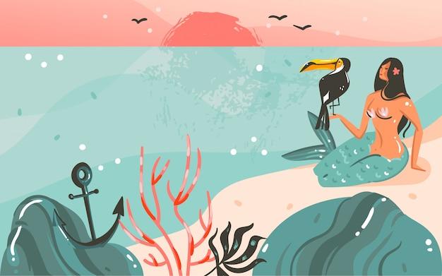 Hand gezeichneter waschbär-sommerzeitillustrationsschablonenhintergrund mit ozeanstrandlandschaft, sonnenuntergang und schönheitsmädchen-meerjungfrau, tukanvogel mit kopienraumplatz für ihren text