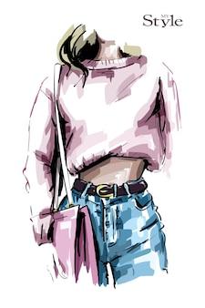 Hand gezeichneter weiblicher körper in jeans und hemd