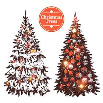Hand gezeichneter weihnachtsbaum-satz