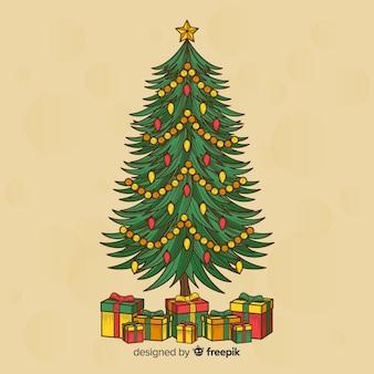 Hand gezeichneter weihnachtsbaumhintergrund